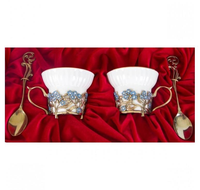 Чайная пара фарфоровая Незабудки(эмаль) в шкатулке