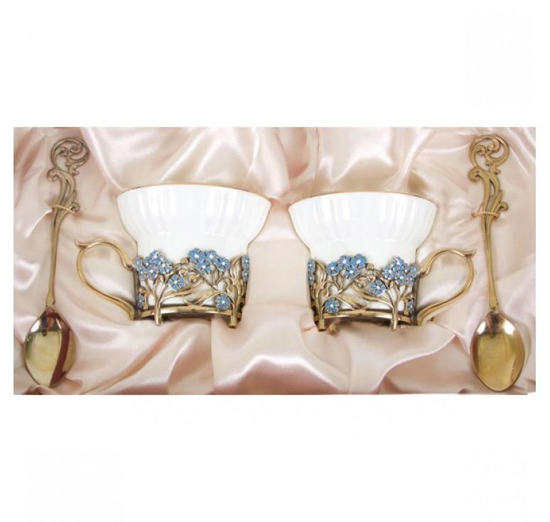 Чайная пара фарфоровая Незабудки(эмаль) в картонном футляре