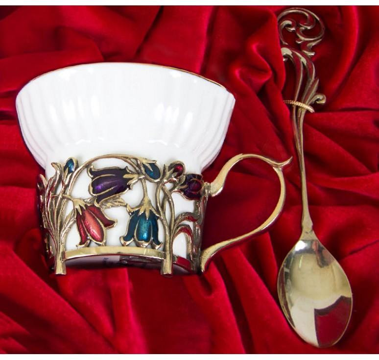 Чайная пара фарфоровая Колокольчики(эмаль) в шкатулке