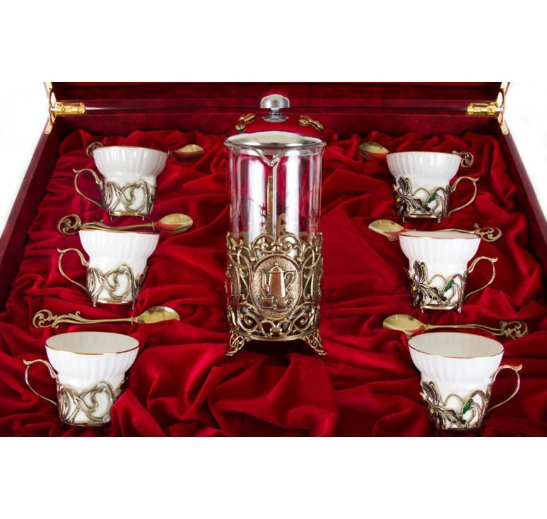 Чайный сервиз с френч-прессом Ирисы(эмаль) Истинная женщина в шкатулке