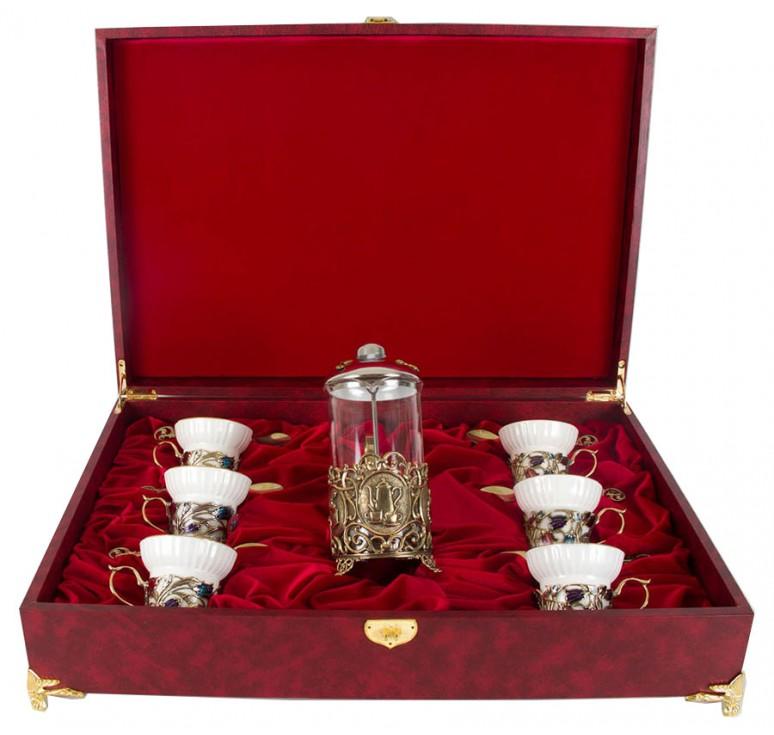 Чайный сервиз с френч-прессом Колокольчики(эмаль) в шкатулке