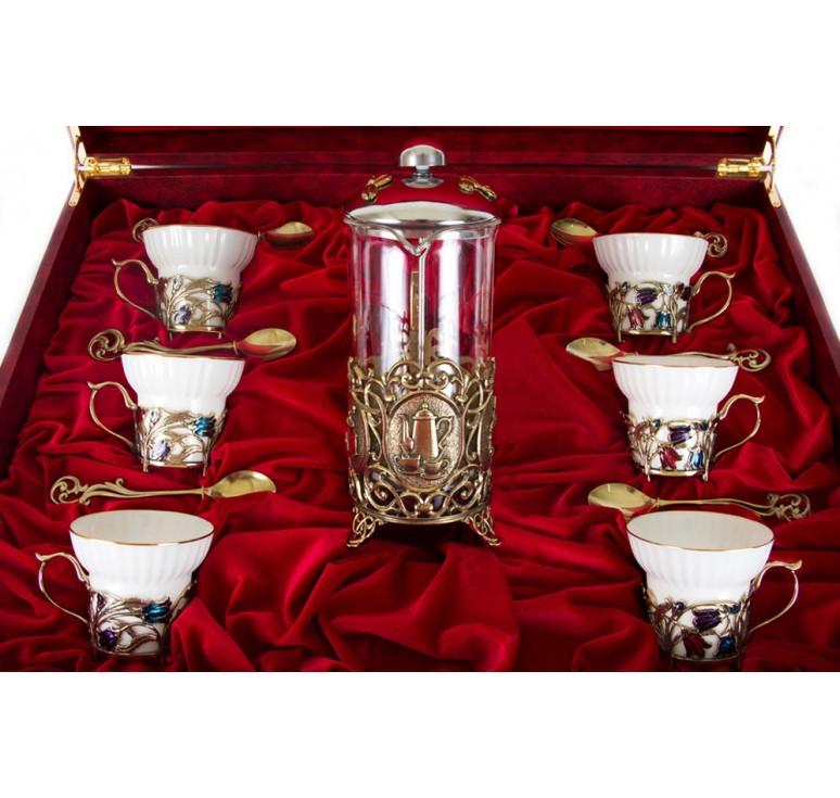 Чайный сервиз с френч-прессом Колокольчики(эмаль) Истинная женщина в шкатулке