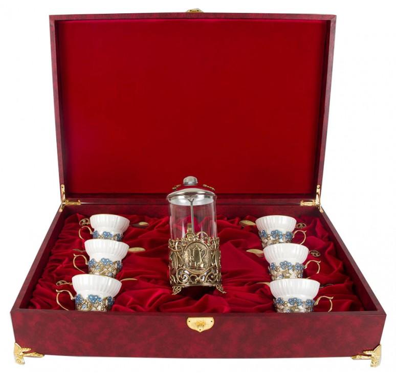 Чайный сервиз с френч-прессом Незабудки(эмаль) в шкатулке