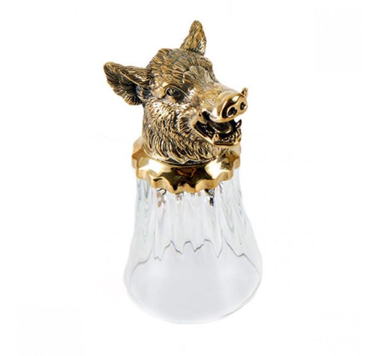 Набор стопок-перевертышей трех штук  с головами Лося Кабана Медведя в картонном футляре