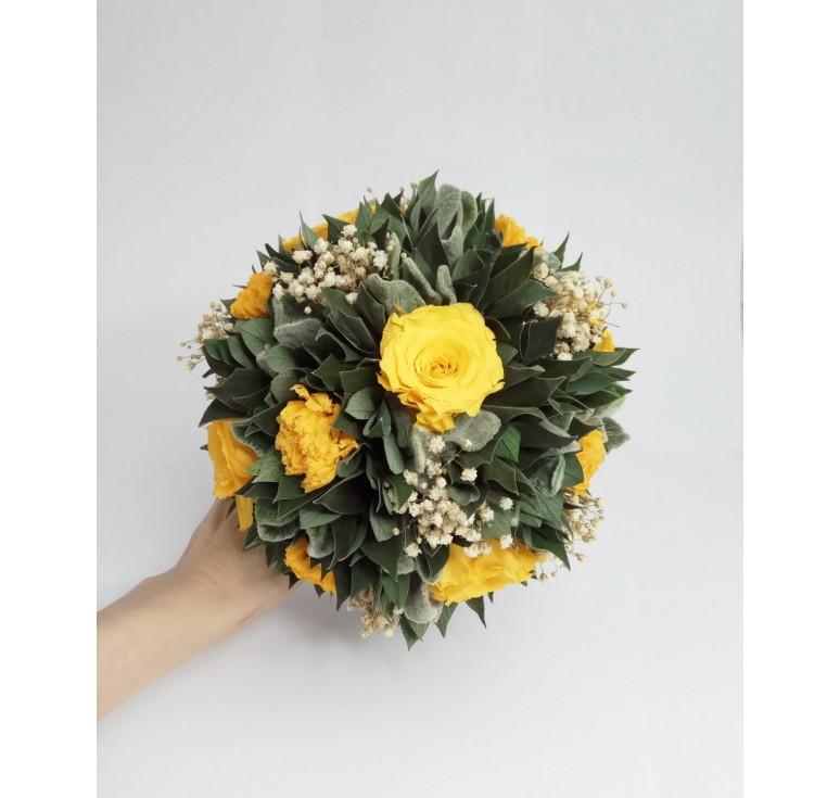 Композиция Вельвет Чистец из желтых роз