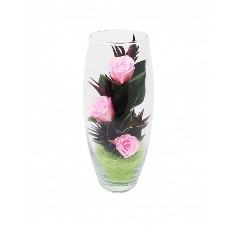 Розовые Цветы в стекле