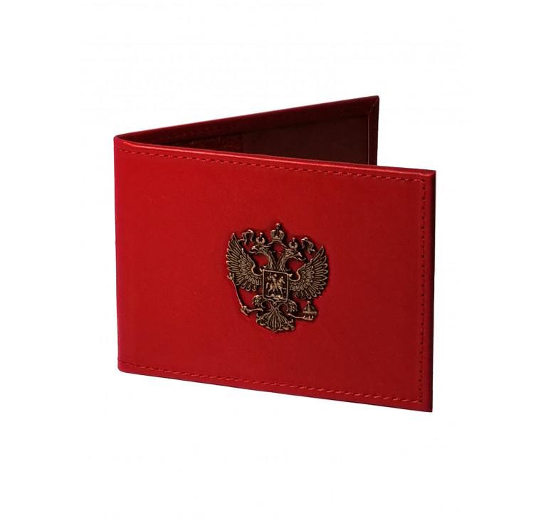 Обложка для удостоверения   Литой герб РФ   Красный   Арт. 003-10-00/1