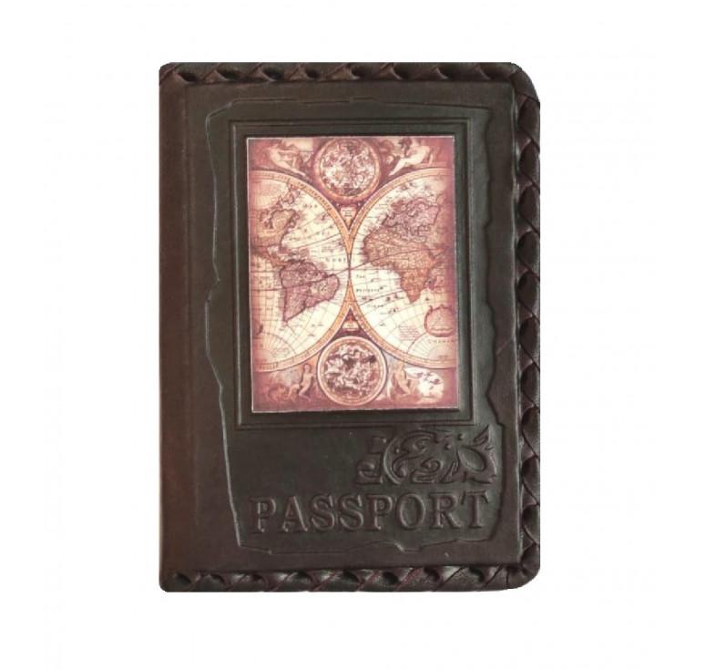 Обложка на паспорт | Глобус | Коричневый