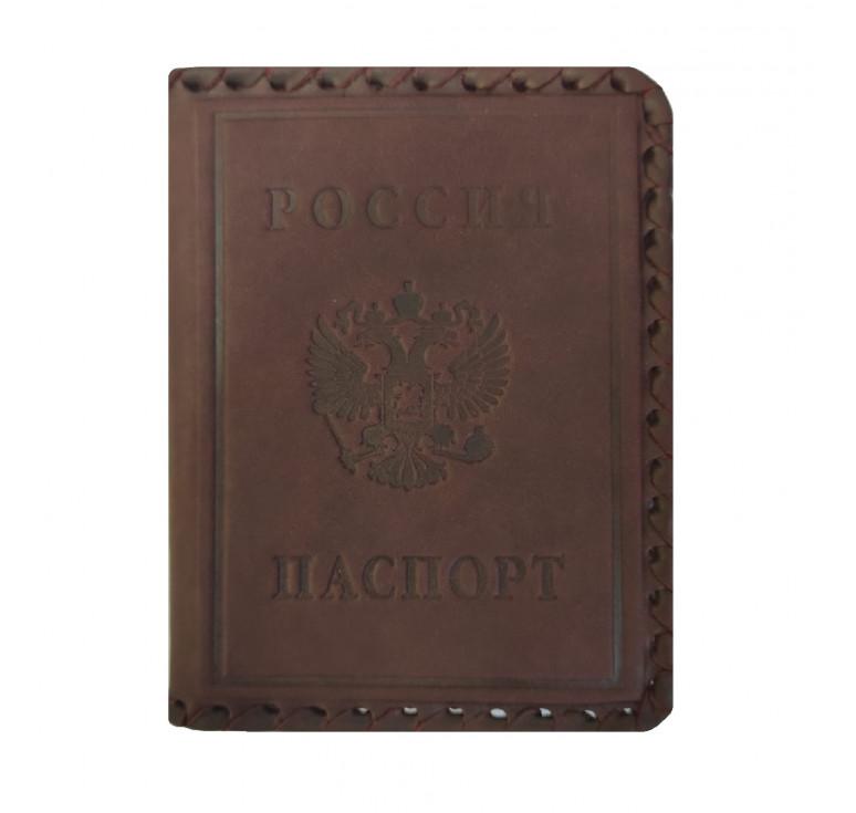 Обложка на паспорт   Герб РФ с оплеткой   Коричневый