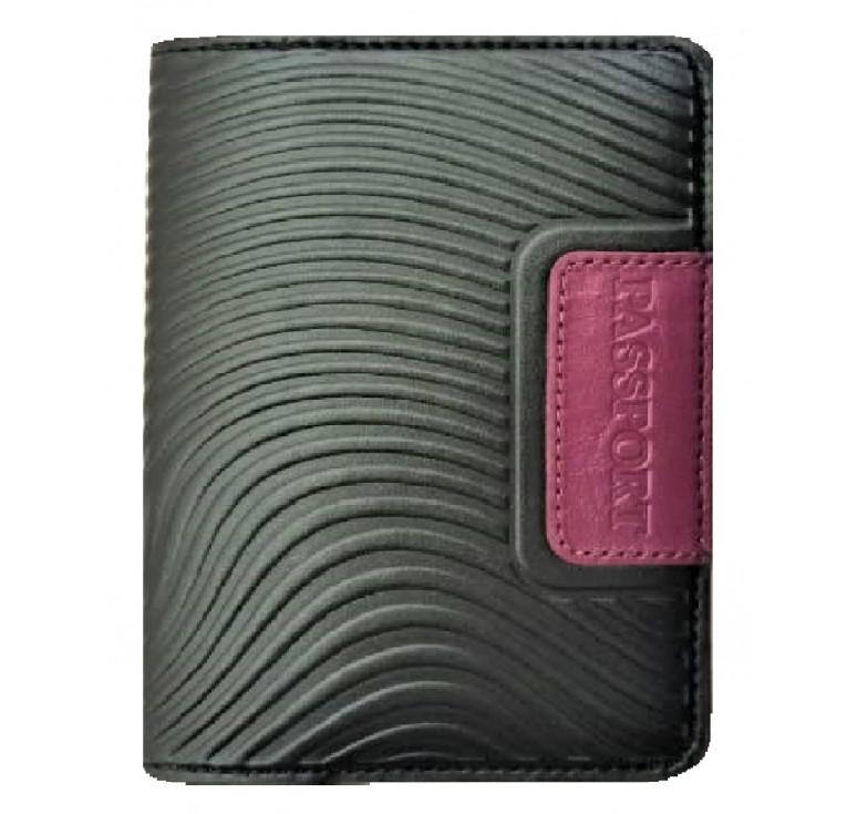 Обложка на паспорт   Waves   Чёрный