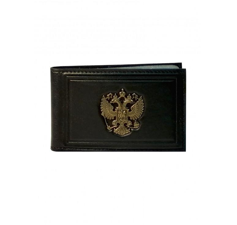 Визитница | Литой герб России | Чёрная