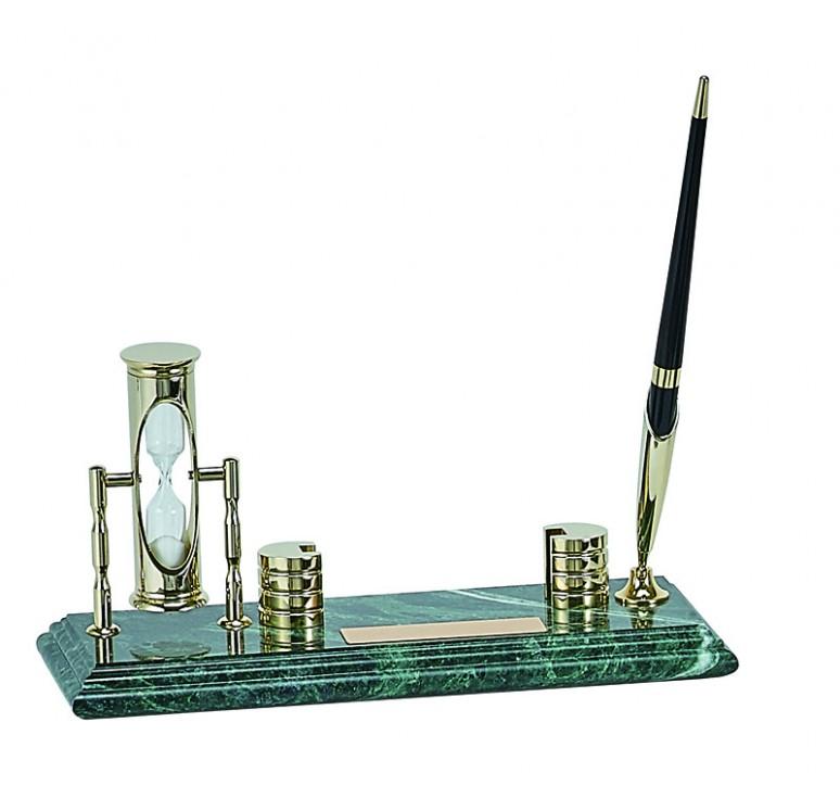 Настольный набор: ручка, песочные часы, держатель для визиток, 9х23х1,8 см, мрамор