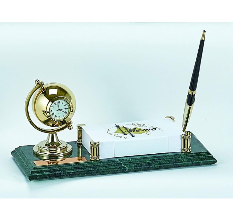 Настольный набор:ручка, часы, держатель для блок-листов, 11х26х1,8 см, мрамор