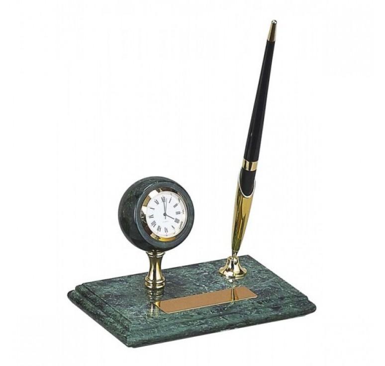 Настольный набор:  ручка, часы, 14,5 х 9 х 1,8 см, мрамор