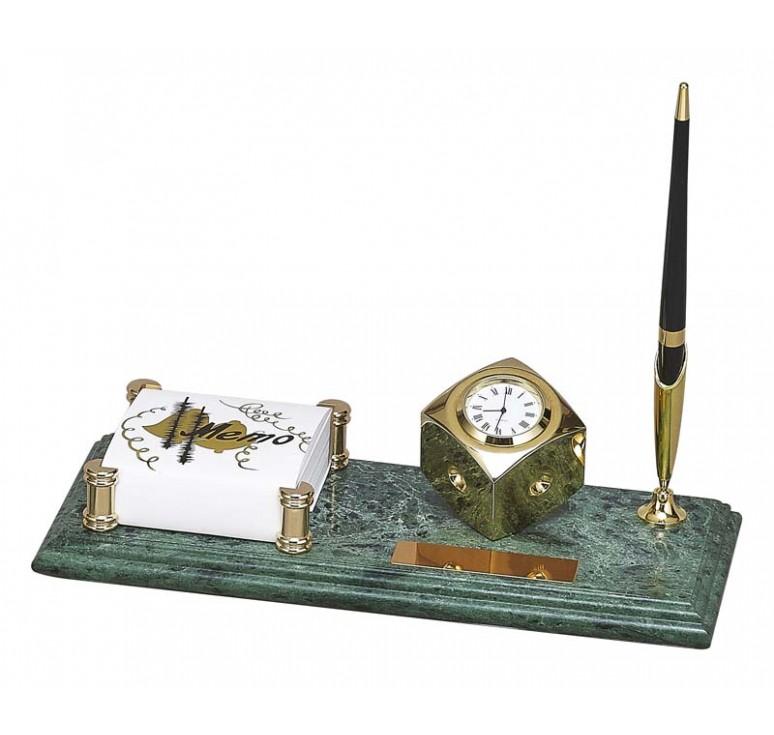 Настольный набор: держатель для блок-листов, часы, 26 х 11 х 1,8 см, мрамор