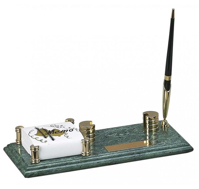 Настольный набор: держатель для блок-листов, держатель для визиток, ручка, 26 х 11 х 1,8 см, мрамор