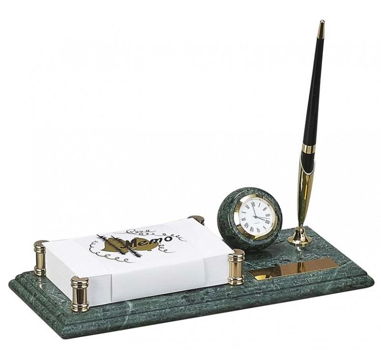 Настольный набор: держатель для блок-листов, часы, ручка, 26 x 11 x1.8 см, мрамор