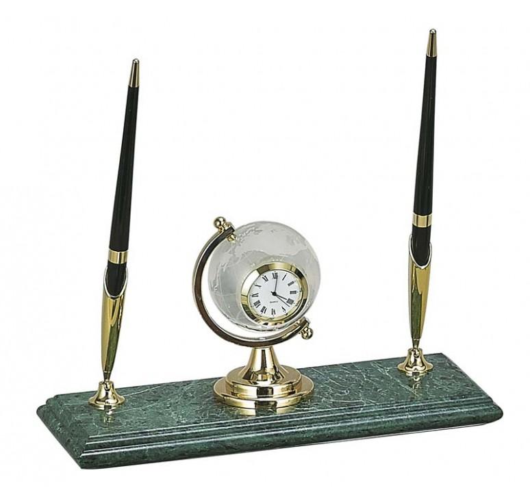 Настольный набор: 2 ручки, часы, 23 х 9 х 1,8 см, мрамор