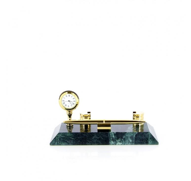 Настольный набор: ручка, держатель для визиток, часы, 20 х 9 х 1,8 см, мрамор