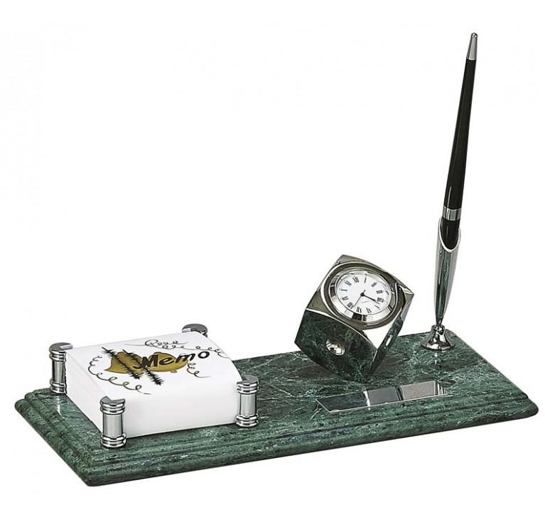 Настольный набор: держатель для блок-листов, часы, 26 x 11 x1.8 см, мрамор