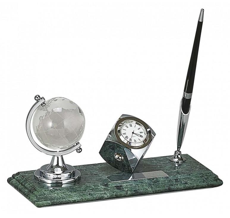 Настольный набор: глобус, ручка, часы, 23 х 9 х 1,8 см, мрамор