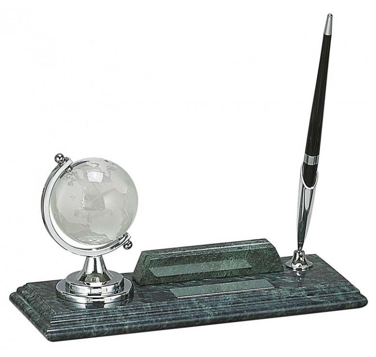 Настольный набор: глобус, держатель для визиток, ручка, 23 х 9 х 1,8 см, мрамор