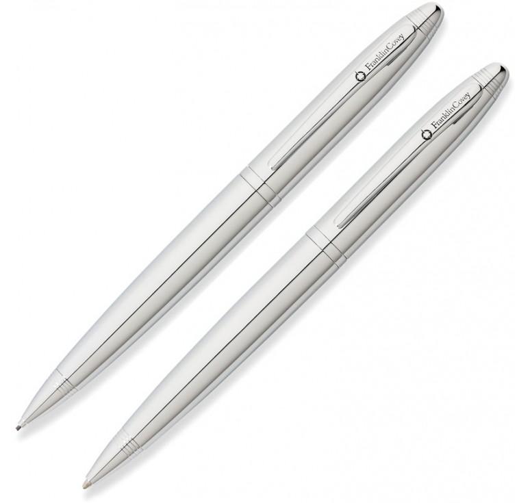 Набор FranklinCovey Lexington: шариковая ручка и карандаш 0.9мм. Цвет - хромовый.