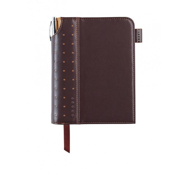 Записная книжка Cross Journal Signature A6, 250 страниц в линейку, ручка 3/4. Цвет -  коричневый