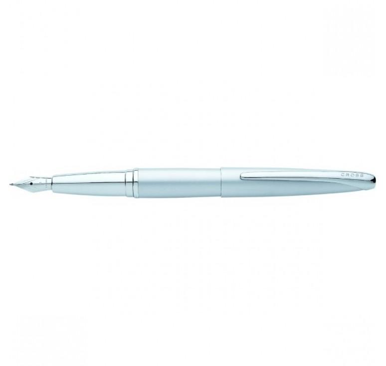 Перьевая ручка Cross ATX. Цвет - серебристый матовый. Перо - сталь, тонкое.