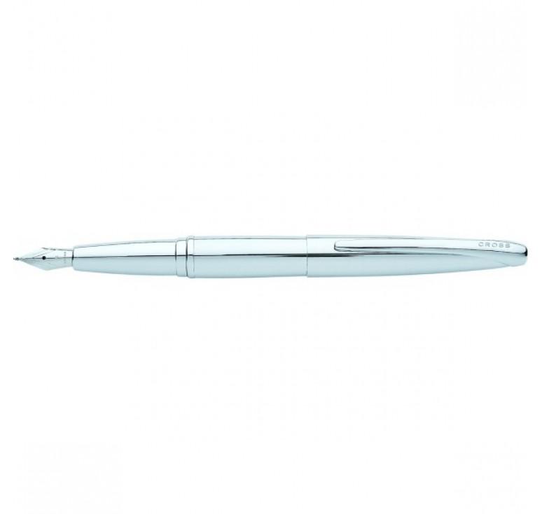 Перьевая ручка Cross ATX. Цвет - серебристый. Перо - сталь, тонкое.