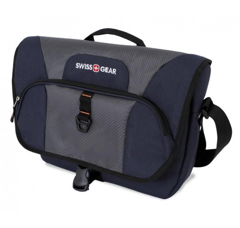 Сумка наплечная SWISSGEAR Sport Line, синий/серый, полиэстер 600Dx600D/рипстоп 420X250D, 44x10x29 см