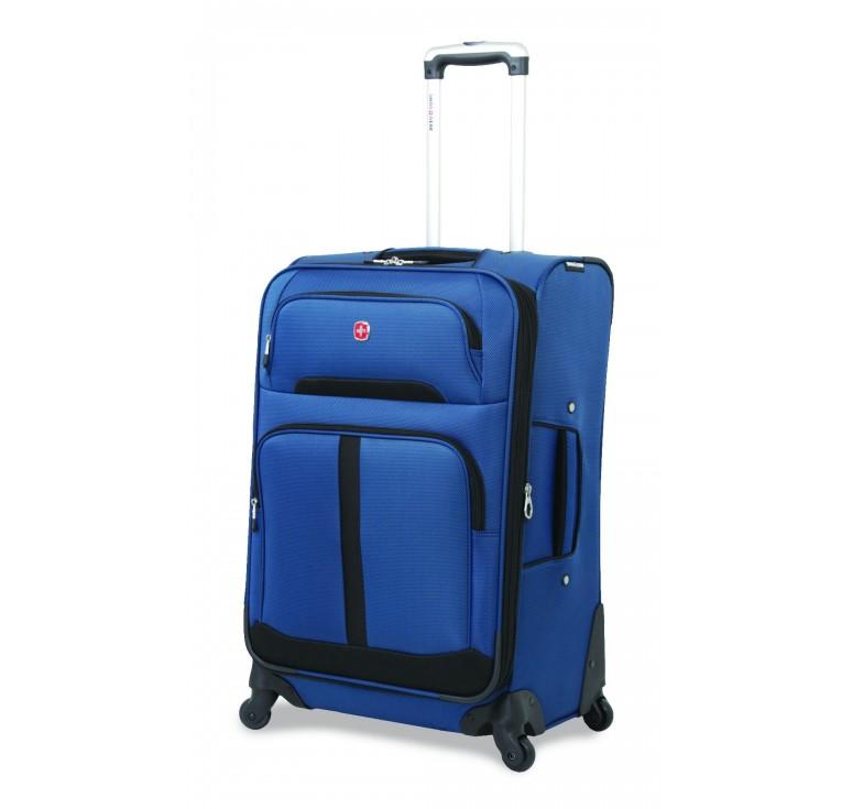 Чемодан SWISSGEAR ANDES, синий/чёрный, полиэстер 600D/400Dx350D, 48,5x28x77 см, 88 л