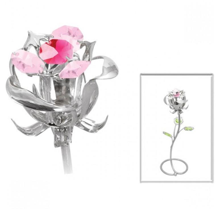 """Миниатюра Crystocraft """"Роза"""" серебристого цвета с розовыми кристаллами, сталь"""