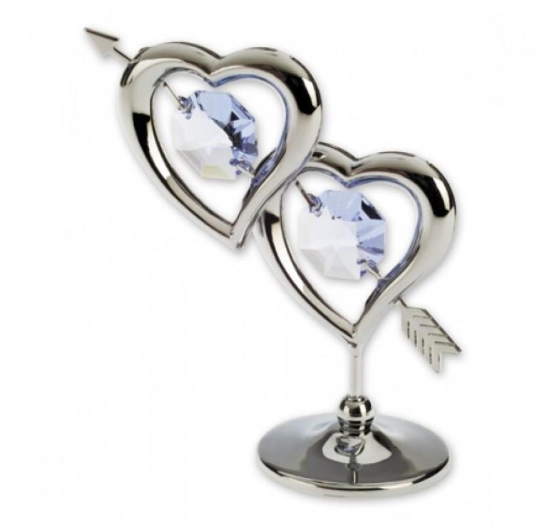 """Миниатюра Crystocraft """"Два сердца """", серебристого цвета с голубыми кристаллами, сталь"""