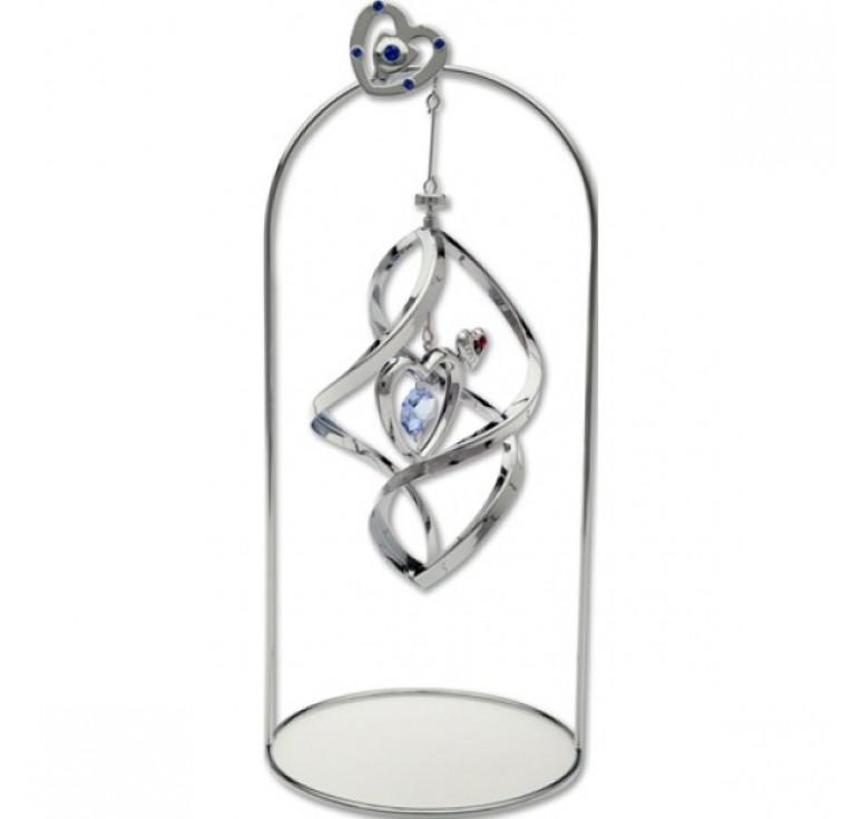 """Настольный сувенир Crystocraft """"Маленькое сердце"""", серебристого цвета с голубыми кристаллами, сталь"""