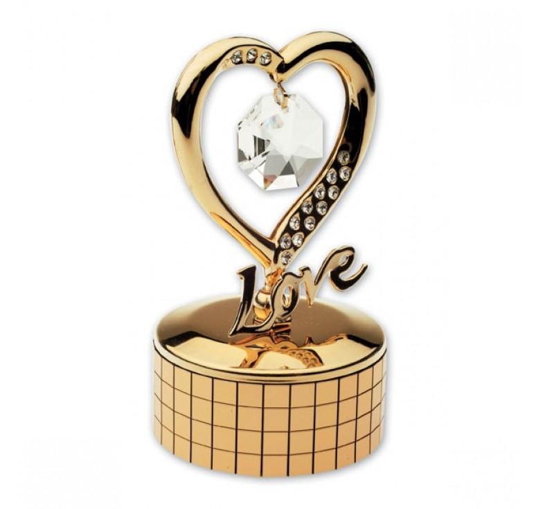 """Шкатулка музыкальная Crystocraft """"Сердце"""", золотистого цвета с бесцветными кристаллами, сталь"""