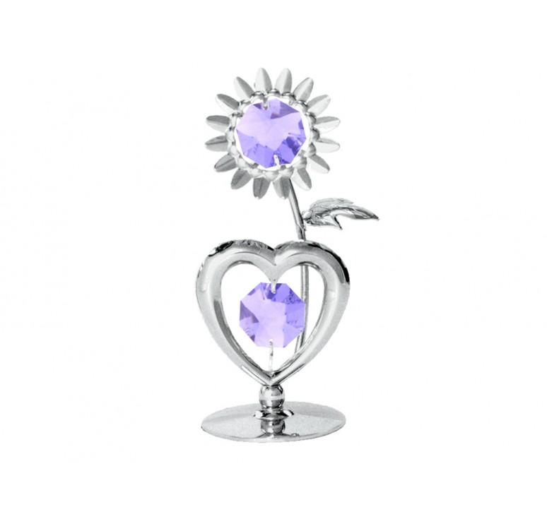 """Миниатюра Crystocraft """"Сердечко с цветком"""" серебристого цвета с сиреневыми кристаллами, сталь"""