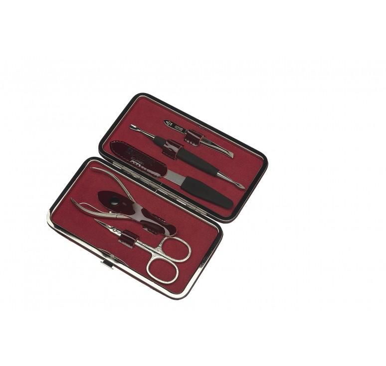 Маникюрный набор Dewal, 5 пр. Чехол: натур.кожа, цвет бордовый