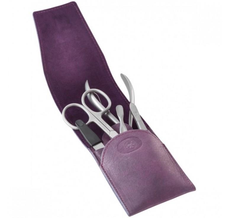 Маникюрный набор Dovo, 5пр. Футляр: натур.кожа (вол), цвет фиолетовый