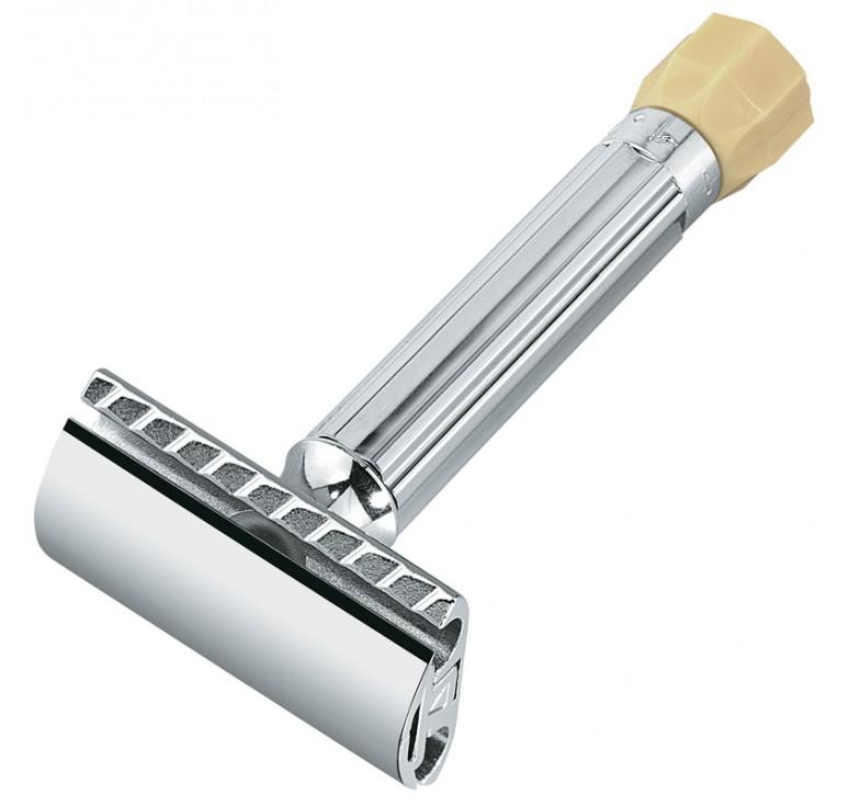 Станок Т- образный для бритья MERKUR хромированный, с регулировкой угла наклона лезвия, лезвие в ком