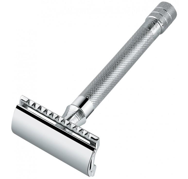 Станок Т- образный для бритья MERKUR хромированный, с удлиненной ручкой, лезвие в комплекте (1 шт)