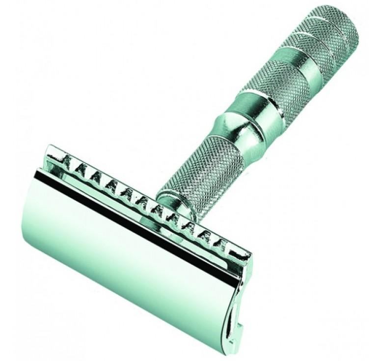 Станок Т- образный для бритья MERKUR хромированный, разборный, в чехле из натуральной воловьей кожи,