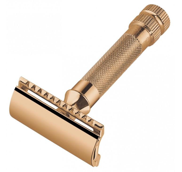 Станок Т- образный для бритья MERKUR золотистый,  лезвие в комплекте (1 шт)