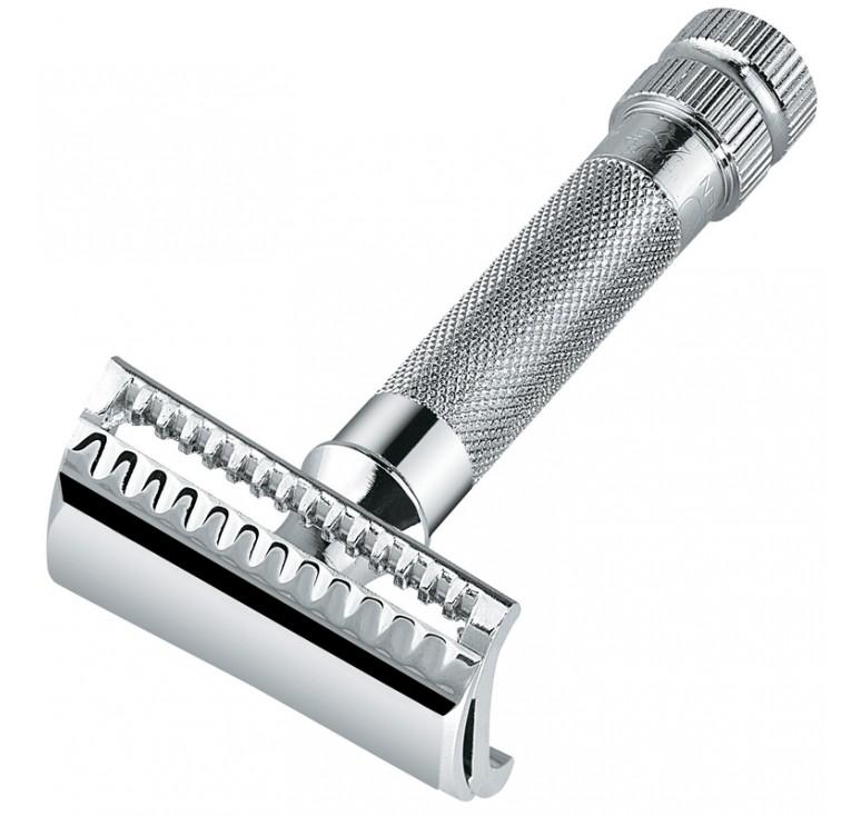 Станок Т- образный для бритья MERKUR хромированный, косой срез, лезвие в комплекте (1 шт)