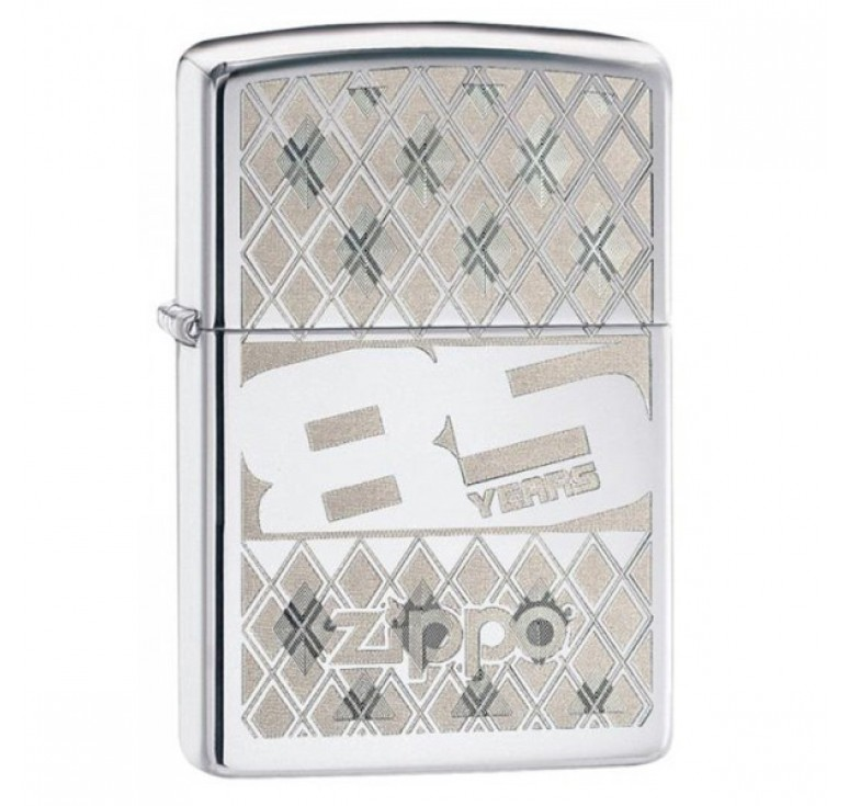 Зажигалка ZIPPO 85 с покрытием High Polish Chrome, латунь/сталь, серебристая, 36x12x56 мм