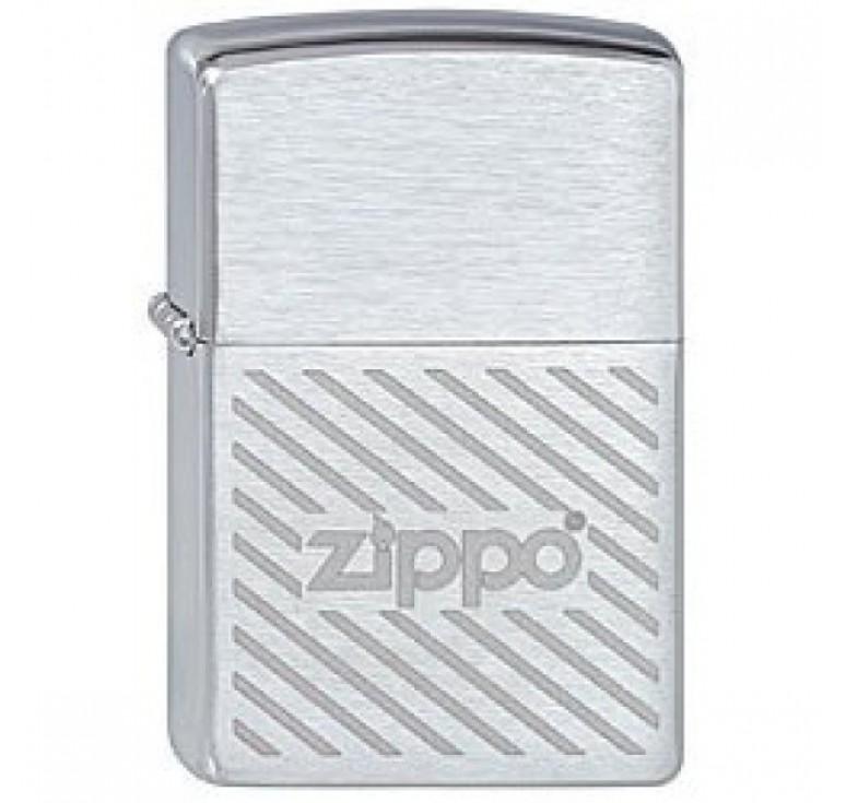 Зажигалка ZIPPO Stripes, с покрытием Brushed Chrome, латунь/сталь, серебристая, матовая, 36x12x56 мм