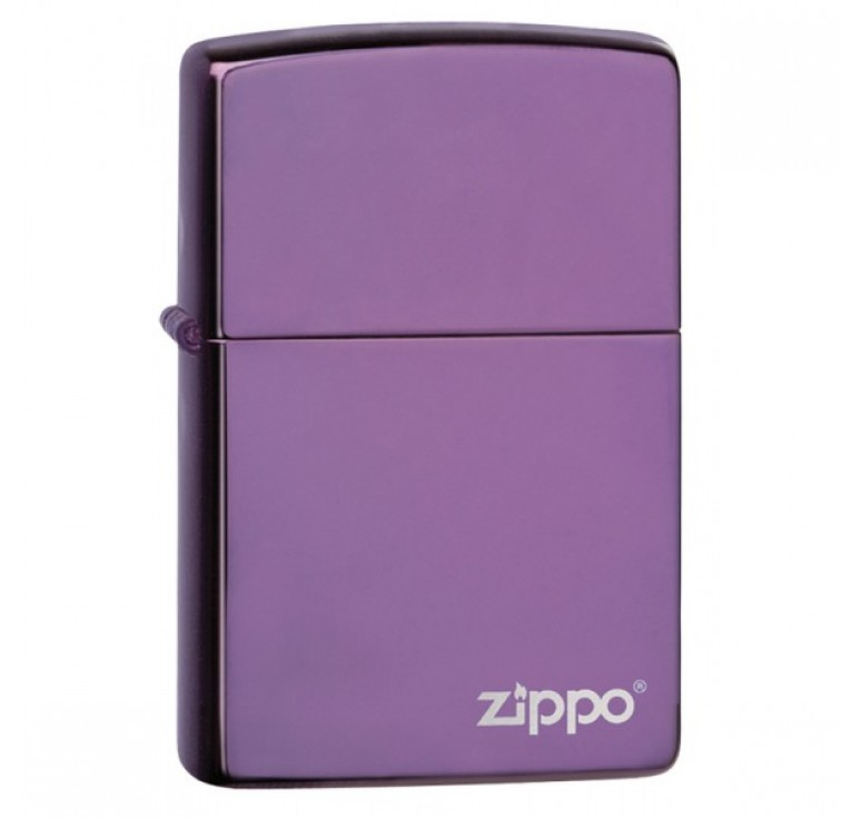 Зажигалка ZIPPO Classic с покрытием Abyss™, латунь/сталь, сиреневая с логотипом, 36x12x56 мм