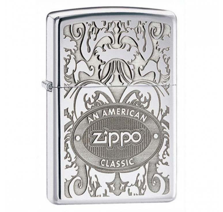 Зажигалка ZIPPO Crown Stamp™ с покрытием High Polish Chrome, латунь/сталь, серебристая, 36x12x56 мм