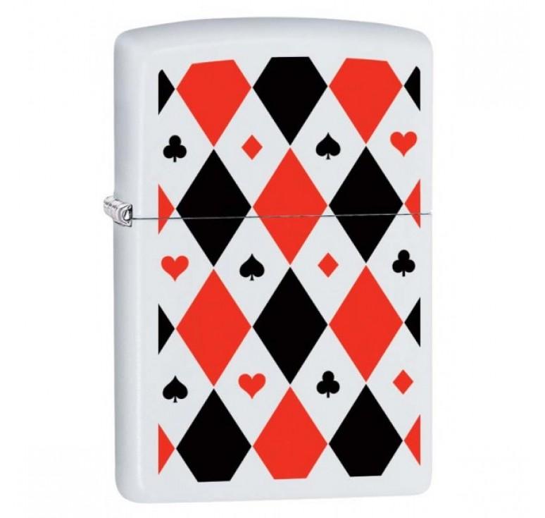 Зажигалка ZIPPO 214 Poker Patterns с покрытием White Matte, латунь/сталь, белая, 36x12x56 мм