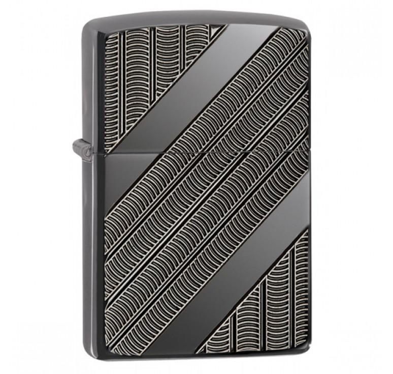 Зажигалка ZIPPO Armor™ с покрытием High Polish Black Ice®, латунь/сталь, чёрная, 36x12x56 мм